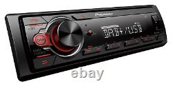 New Pioneer MVH-130DAB Car Stereo USB DAB Mechless MP3 Aux In Red Buttons