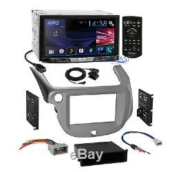 Pioneer 2017 DVD Bluetooth Stereo Silver Dash Kit Harness for 2009-13 Honda Fit
