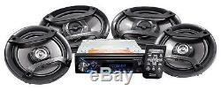 Pioneer Bluetooth Car Stereo Receiver Bundle with Two 6.5 and Two 6x9 Speakers
